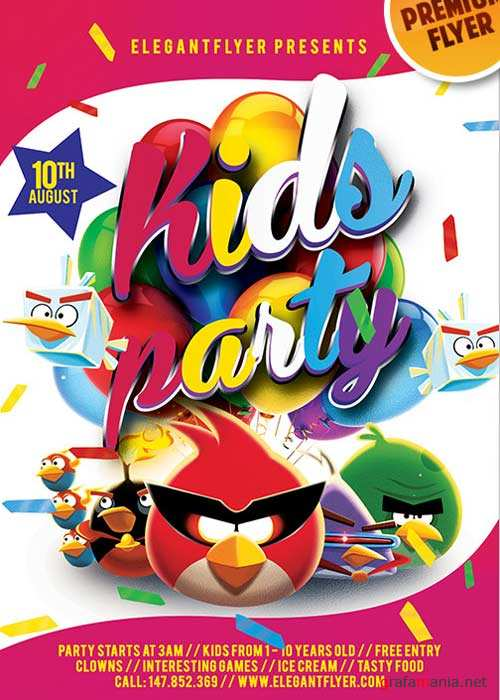Kids Party V5 Flyer PSD Template + Facebook Cover