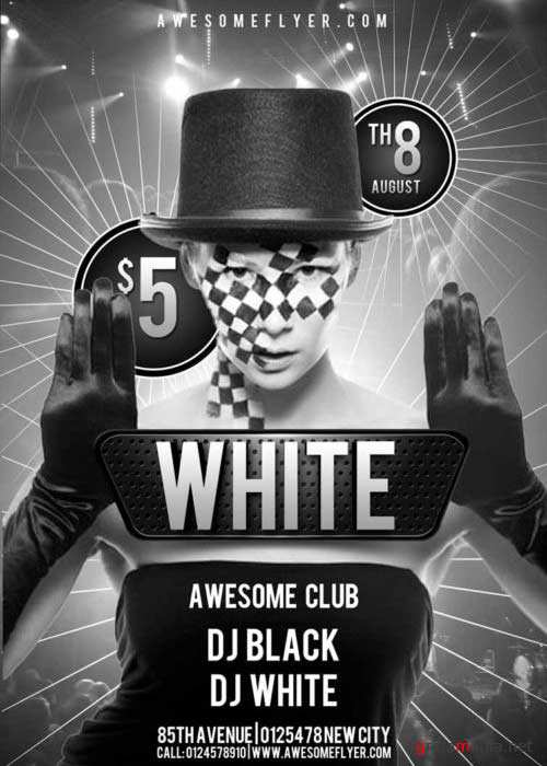Black and White V4 Club Flyer Template