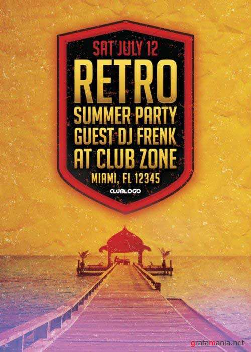 Retro Summer Party V8 Flyer Template