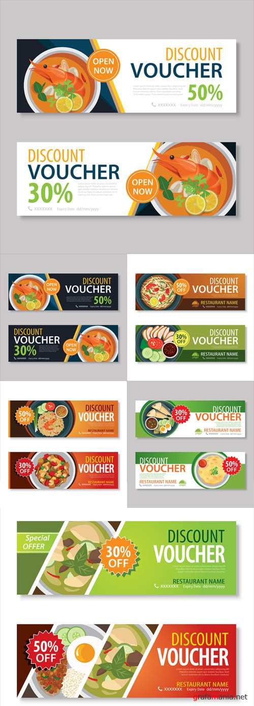Vector Discount Voucher Template with Thai Food Flat Design