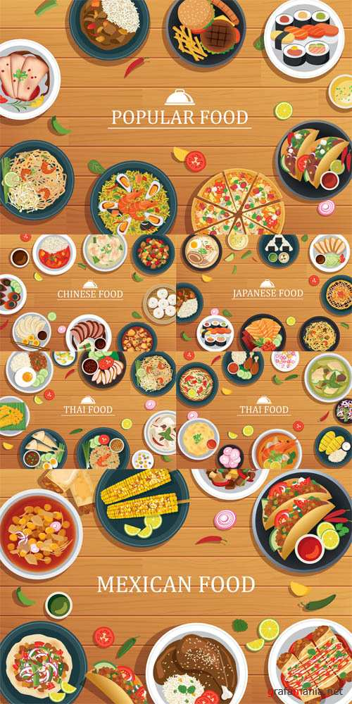 Vector Popular Food on a Wooden Background