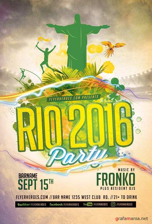 Rio Olympic Party Flyer Template
