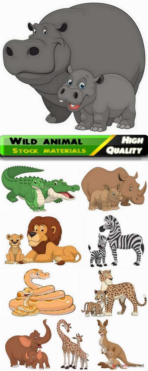 Cartoon and funny wild animal with their children - 10 Eps