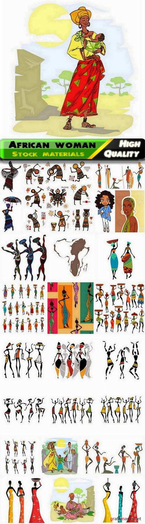 African woman silhouette and afro american girl illustration - 25 Eps