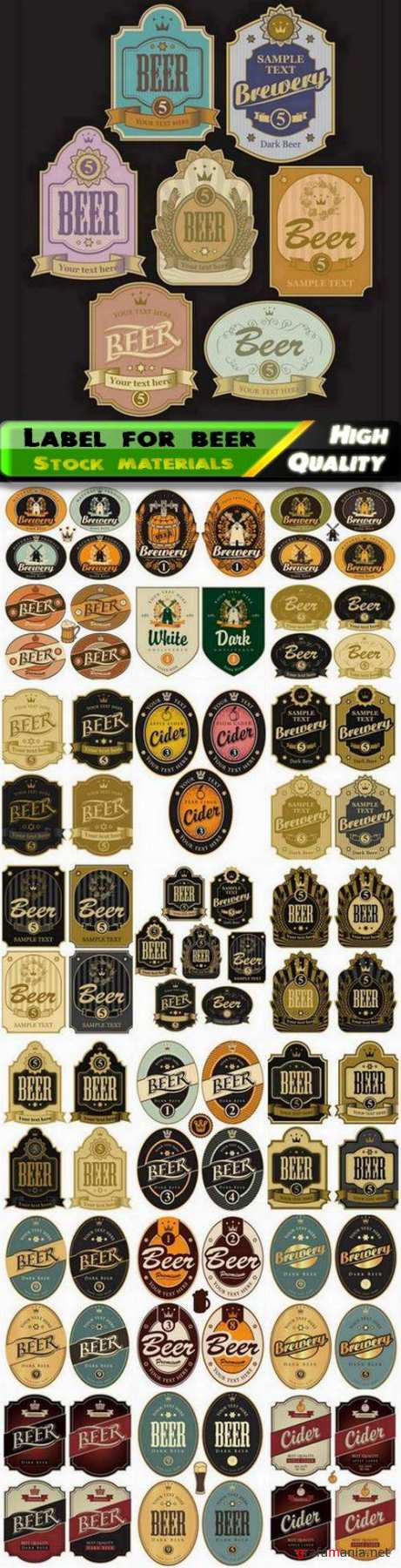 Simple label and badge for beer alcoholic drink - 25 Eps