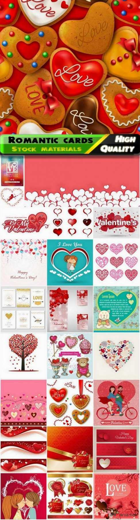 Romantic cards for Valentines Day with hearts and flowers 3 - 25 Eps
