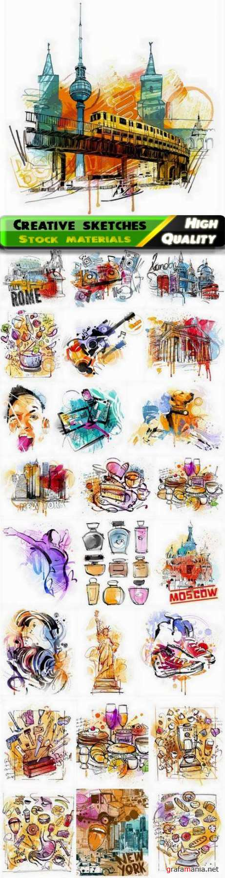 Abstract creative sketch for t-shirt or clothes design - 25 Eps