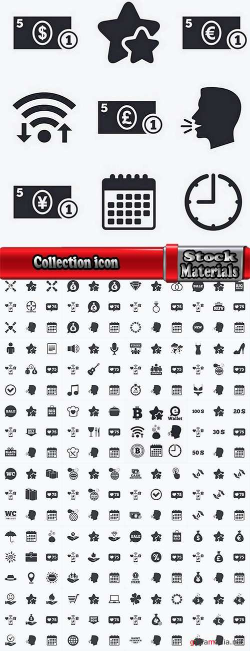 Collection icon flat web design element of various subjects 4-25 EPS