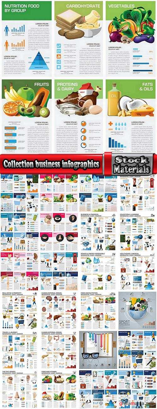 Collection business infographics medicine food products 25 EPS