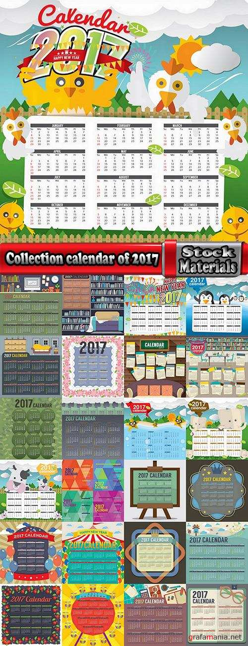 Collection calendar of 2017 poster flyer banner illustration for children's books 25 EPS