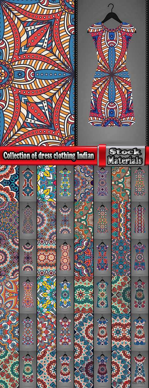 Collection of dress clothing Indian ethnic ornament pattern mandala image banner 25 EPS