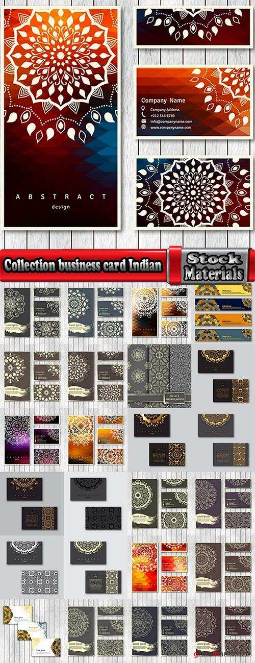 Collection business card Indian ethnic ornament pattern mandala flyer image a banner 25 EPS