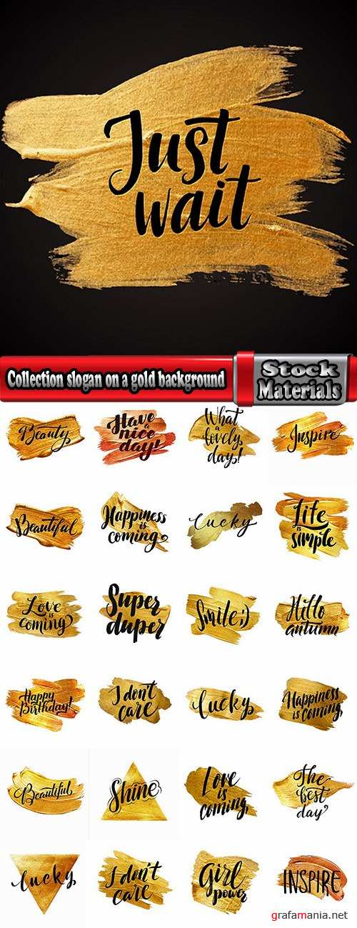 Collection slogan on a gold background image for clothes 25 EPS
