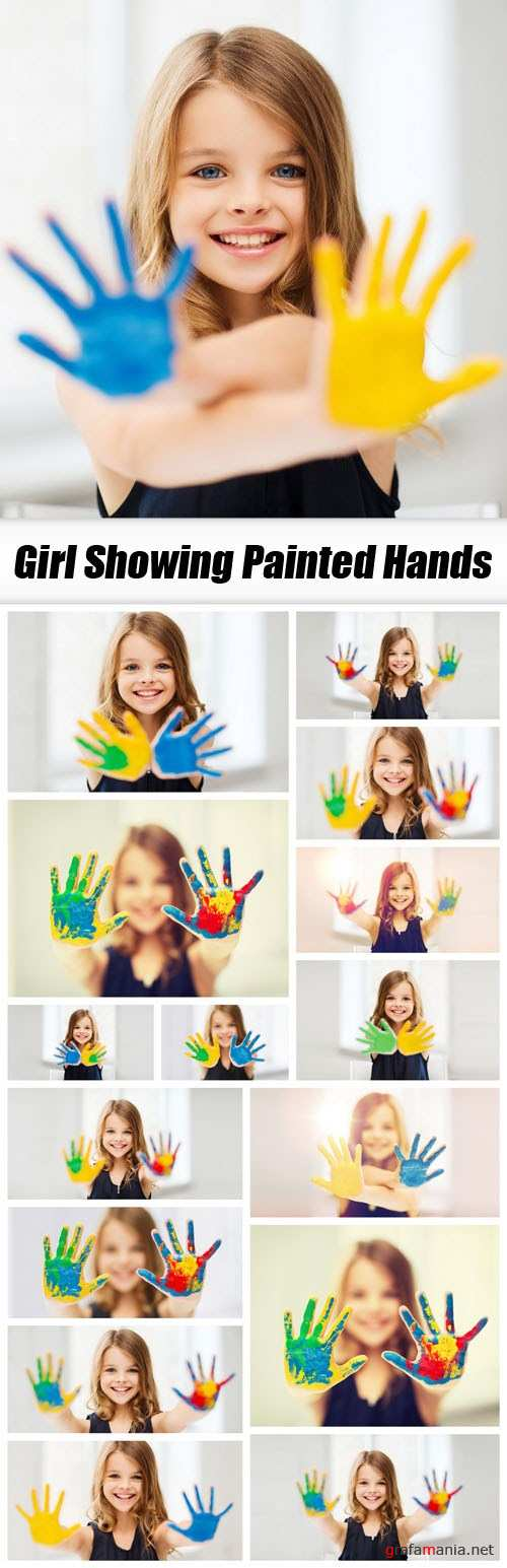 Girl Showing Painted Hands - 16xUHQ