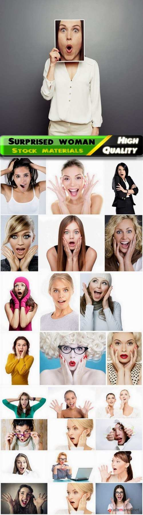 Surprised woman and girl with an open mouth  - 25 HQ Jpg