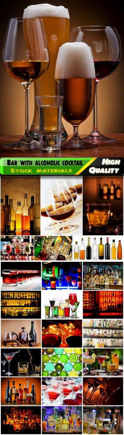 Bar with glass of alcoholic cocktail and bottle of drink - 25 HQ Jpg