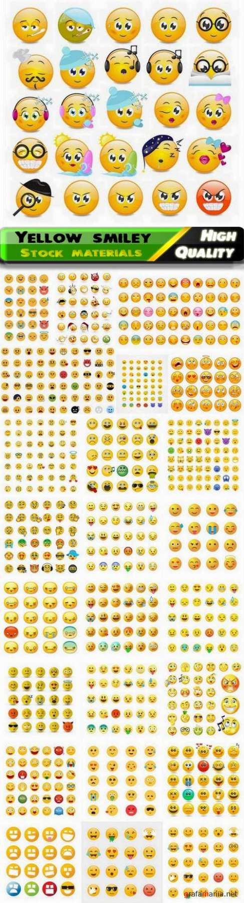 Yellow smiley with different emotion and funny face - 25 Eps