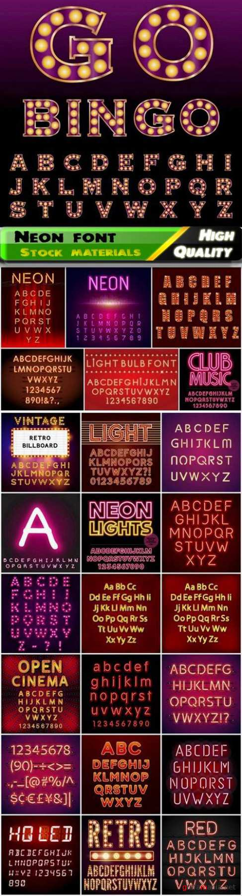 Abstract neon font and letters of alphabet with light effect - 25 Eps