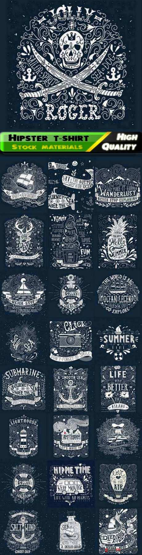 Vintage hipster style label and fashion t-shirt print design - 25 Eps
