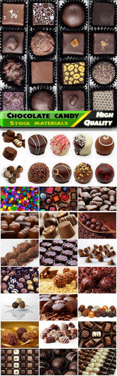 Sweet food and chocolate candy with glaze cream and nuts - 25 Jpg