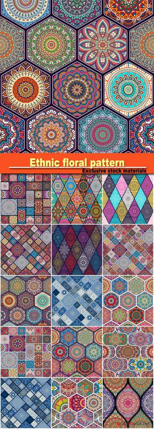 Ethnic floral seamless pattern and ornamental pattern