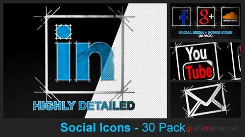 Social Media Icons - 30 Pack - After Effects Project (Videohive)