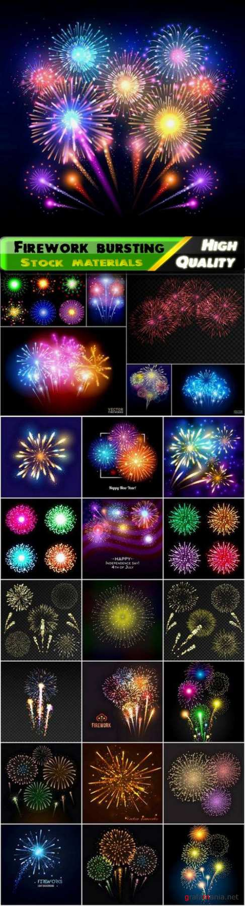 Firework bursting and light effect with sparks and flashes - 25 Eps