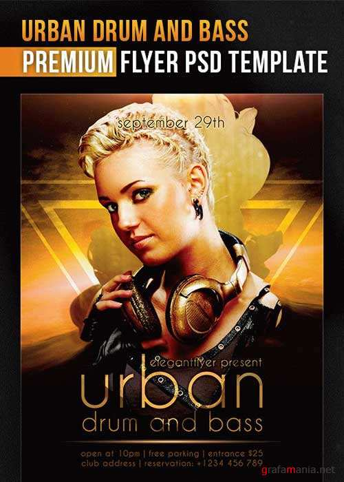 Urban Drum And Bass V5 Flyer PSD Template + Facebook Cover