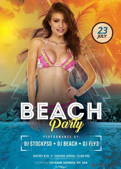 Beach Party V10 PSD Flyer Template