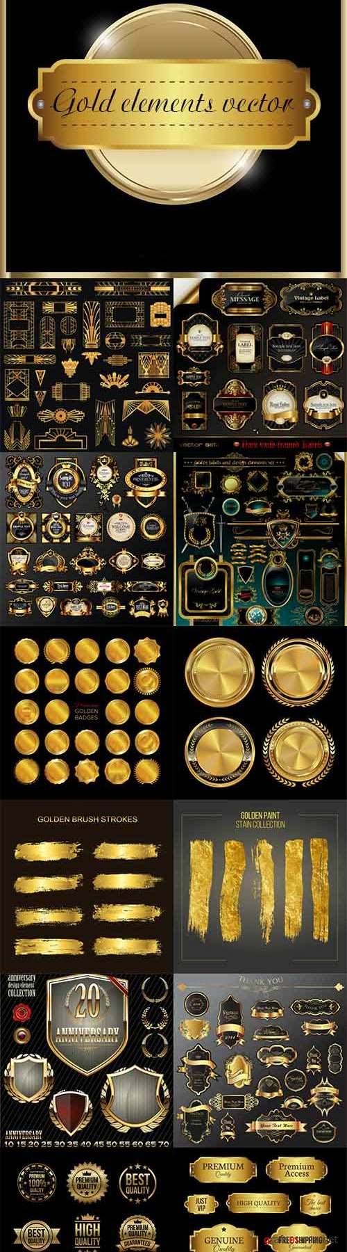 Various gold elements vector