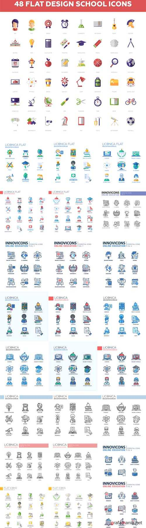 Vector Modern School and Education Design Icons
