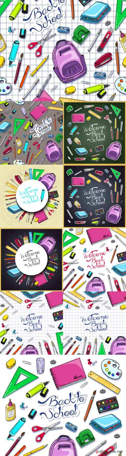 Vector Illustrations of Back to School Supplies