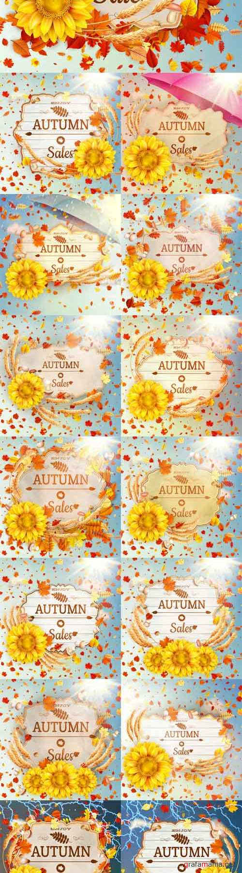 Vector Background on a Theme of Autumn.Sale 3