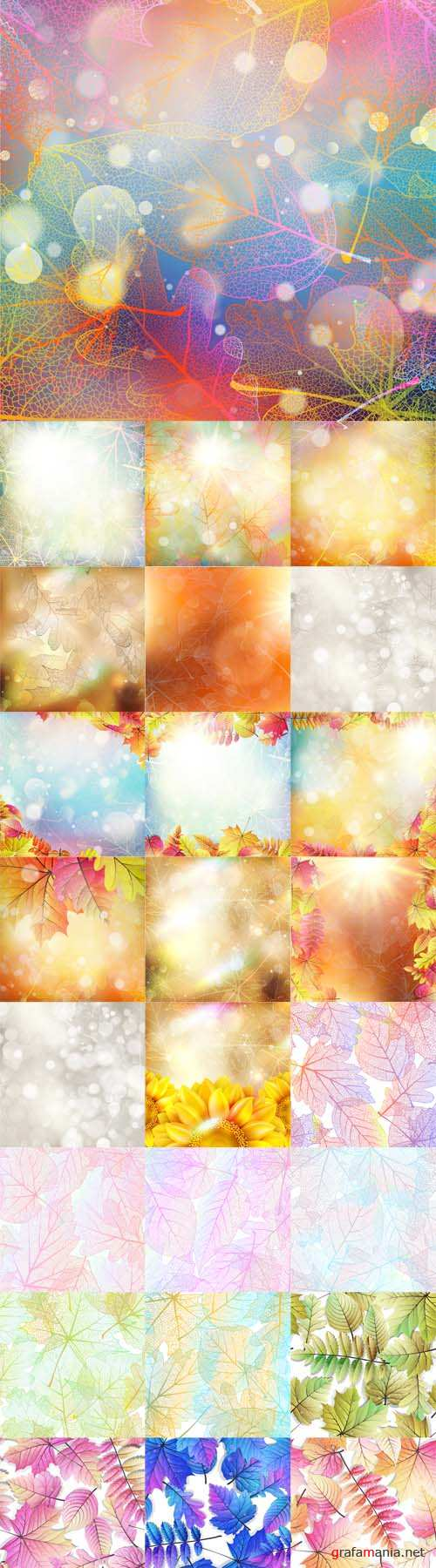 Vector Beautiful Autumn Backgrounds with Sun