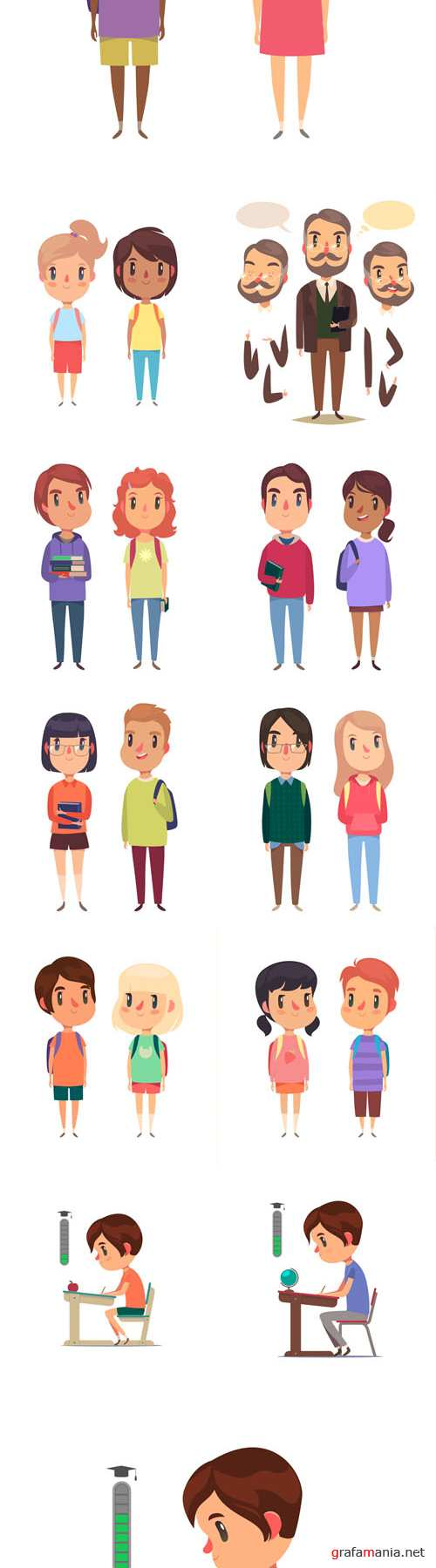 Vector Students and Teachers Characters