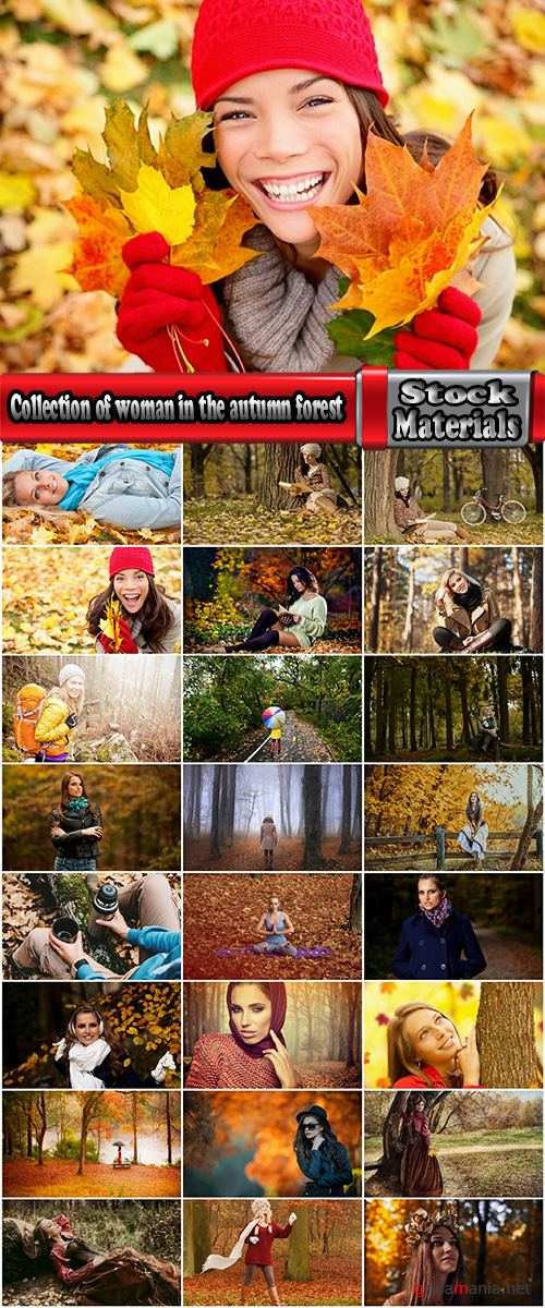 Collection of woman girl in the autumn forest yellow leaf 25 HQ Jpeg