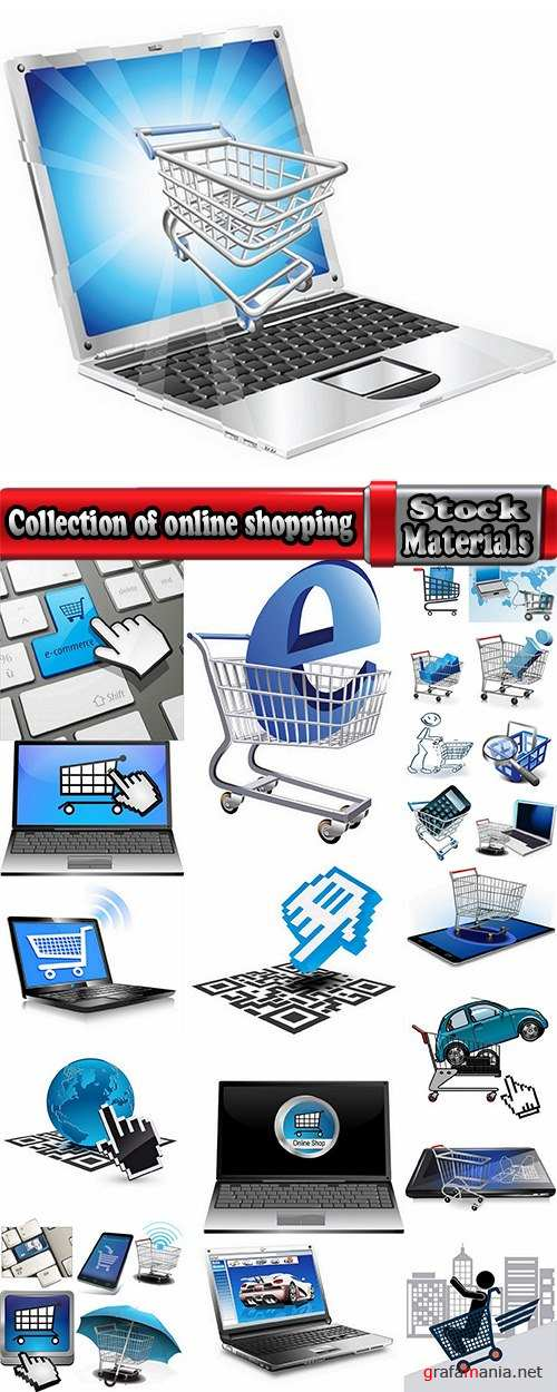 Collection of shopping cart online shopping laptop tablet computer network 25 EPS