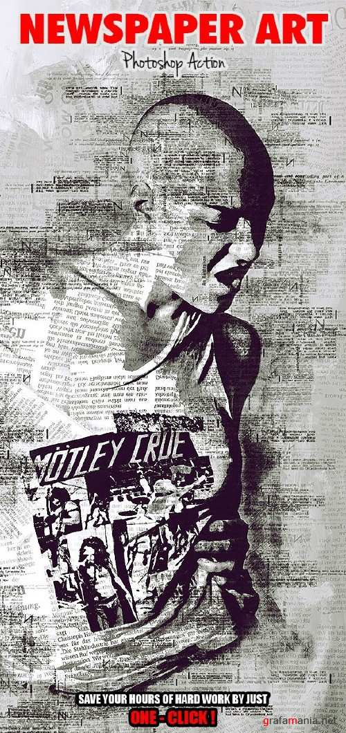 Newspaper Art Photoshop Action ( With Painting Effect ) - 17461214