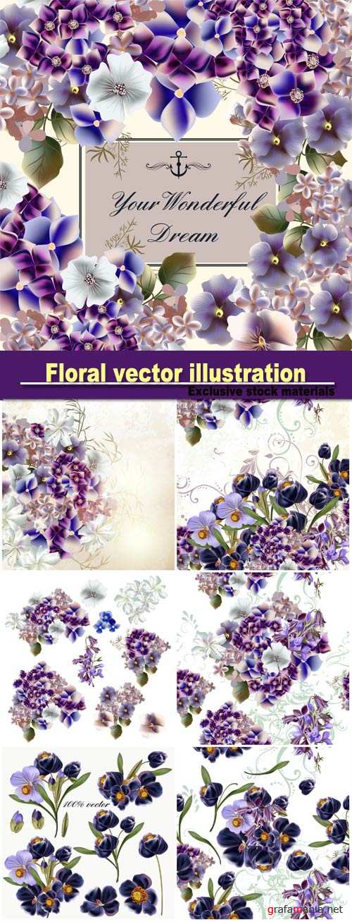 Floral vector illustration with flowers in watercolor style