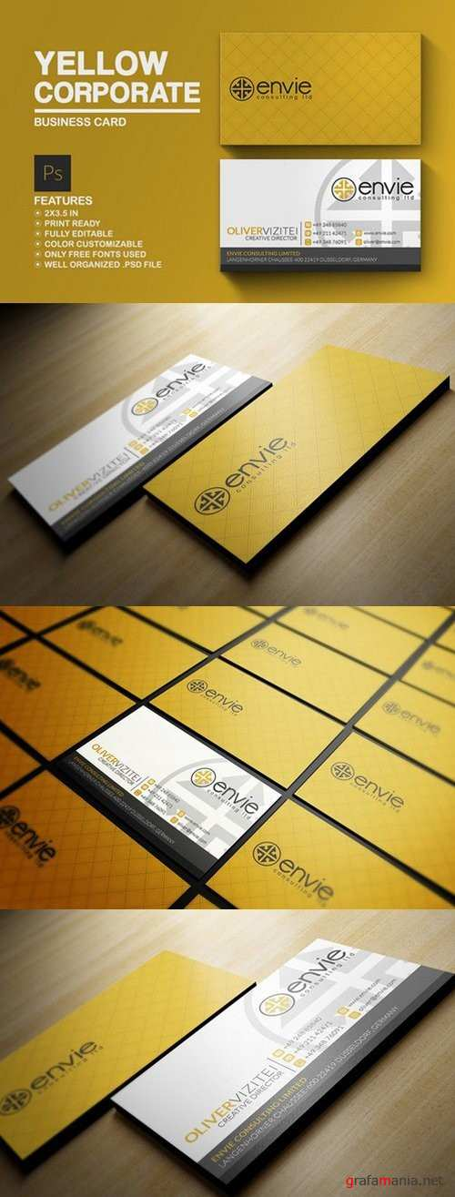 Yellow Corporate Business Card - 785890
