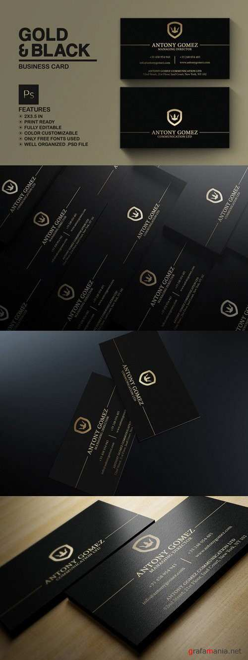 Simple Gold And Black Business Card - 792740