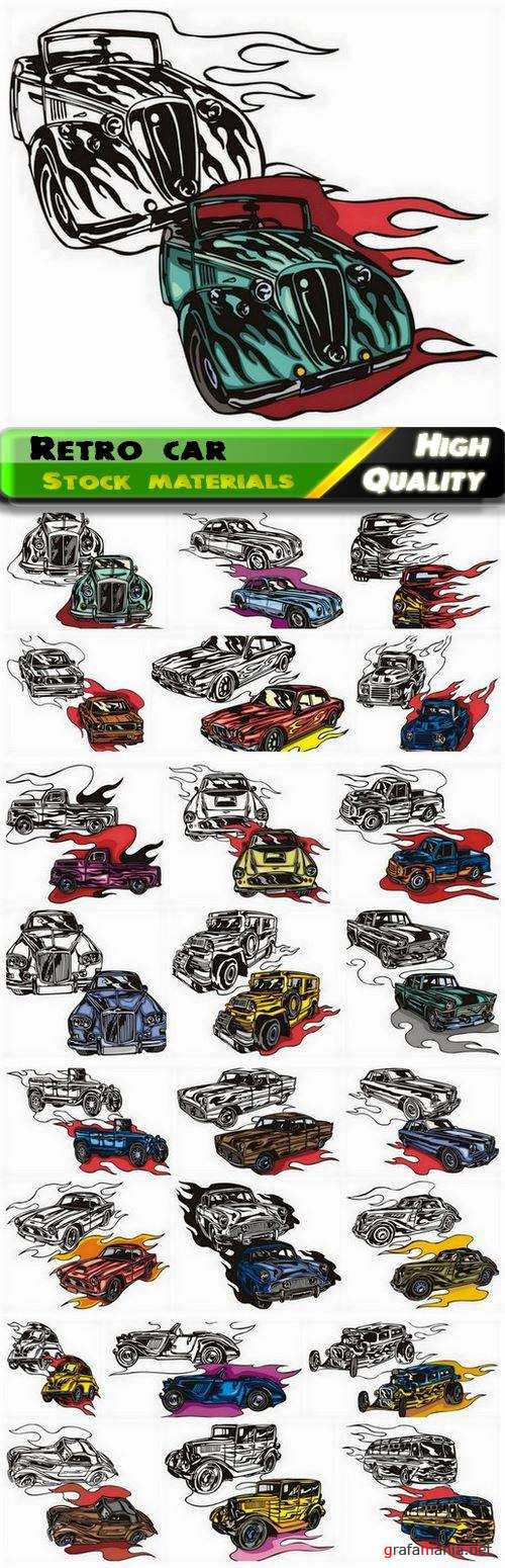 Silhouettes of retro sport and coupe car and old transport - 25 Eps