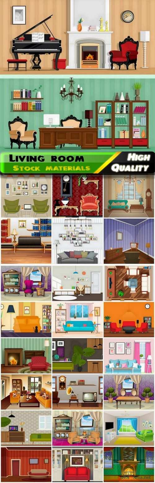 Flat home interior of living room with furniture and decor - 25 Eps