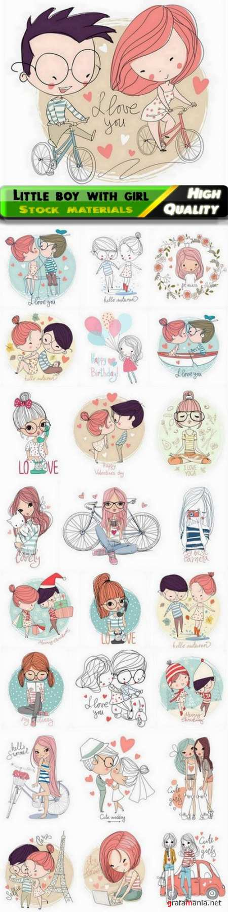 Sketches of cute little boy with girl and romantic couple - 25 Eps