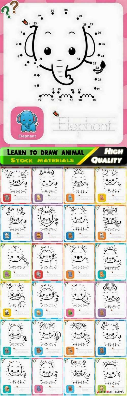 Learn to draw different animal from dot to dot for children 2 - 25 Eps