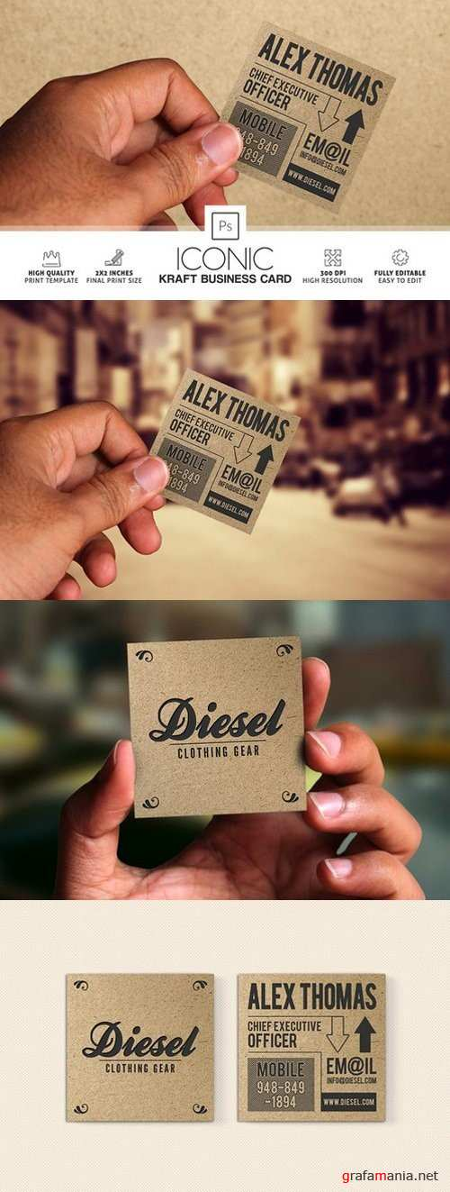 Iconic Kraft Paper Business Card - 868089