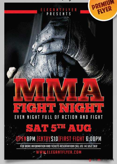 Fight Night V7 Flyer PSD Template + Facebook Cover