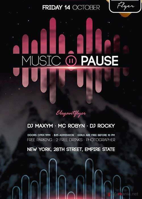 Music Pause Flyer PSD V2 Template + Facebook Cover