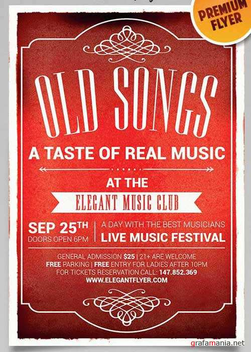 Old Songs V1 Flyer PSD Template + Facebook Cover