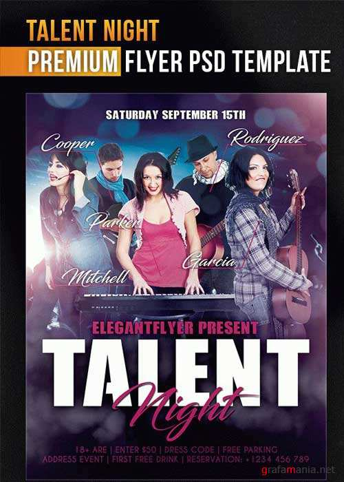 Talent Night Flyer PSD V1 Template + Facebook Cover